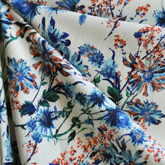 Daisy Floral Rayon Crepe Cream/Blue - Sold Out - Style Maker Fabrics