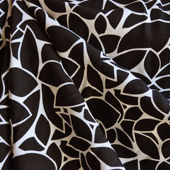 Modern Leaf Print Rayon Crepe Black/Cream - Sold Out - Style Maker Fabrics