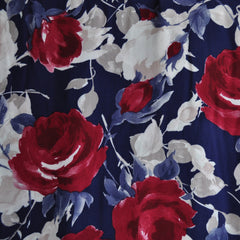 Bold Rose Floral Rayon Crepe Blue/Wine - Sold Out - Style Maker Fabrics