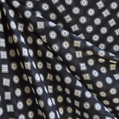 Button Print Polyester Sheer Black