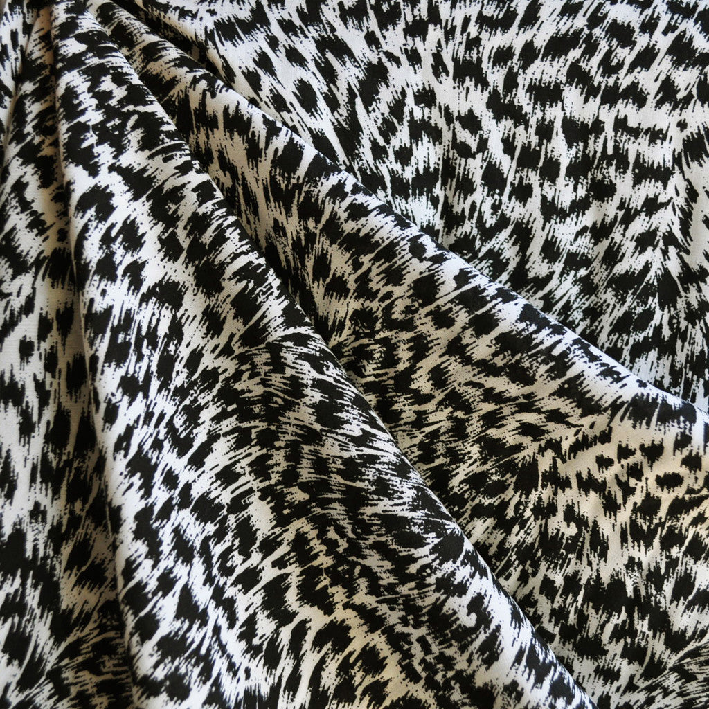 Animal Print Rayon Challis Black/Cream SY - Sold Out - Style Maker Fabrics