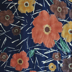 Autumn Foral Single Border Rayon Crepe Navy - Sold Out - Style Maker Fabrics