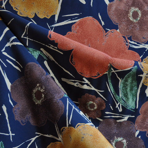 Autumn Foral Single Border Rayon Crepe Navy