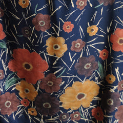 Autumn Foral Rayon Crepe Single Border Navy - Sold Out - Style Maker Fabrics