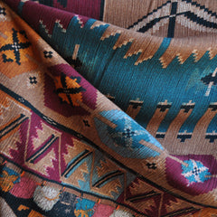 Bold Tribal Rayon Crepe Wine/Rust SY - Sold Out - Style Maker Fabrics