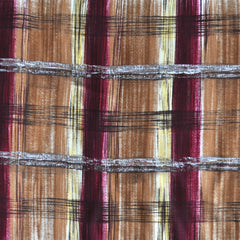Autumn Plaid Rayon Crepe Wine/Caramel - Sold Out - Style Maker Fabrics