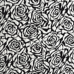 Rose Jacquard Double Knit Black/Wht SY - Sold Out - Style Maker Fabrics
