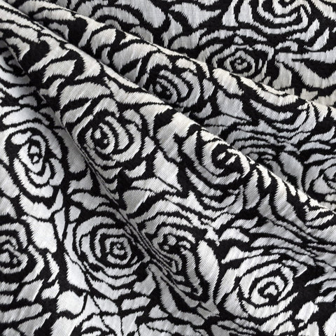 Rose Jacquard Double Knit Black/White