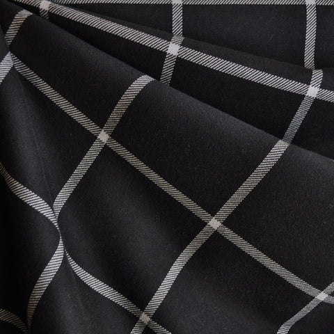 Windowpane Plaid Double Knit Black/Ivory