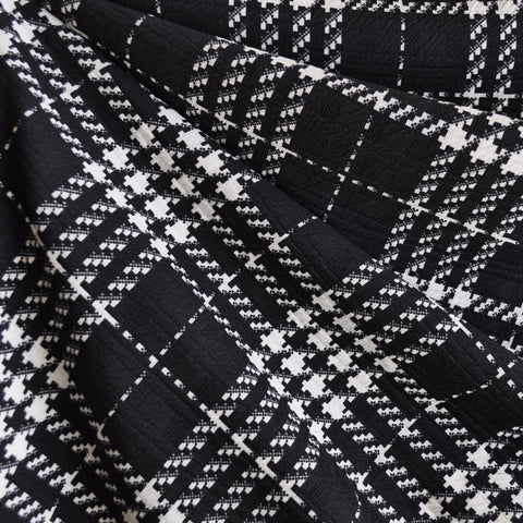 Houndstooth Plaid Double Knit Black/White