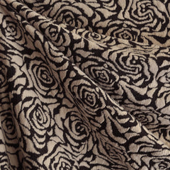 Rose Jacquard Double Knit Latte/Black - Sold Out - Style Maker Fabrics