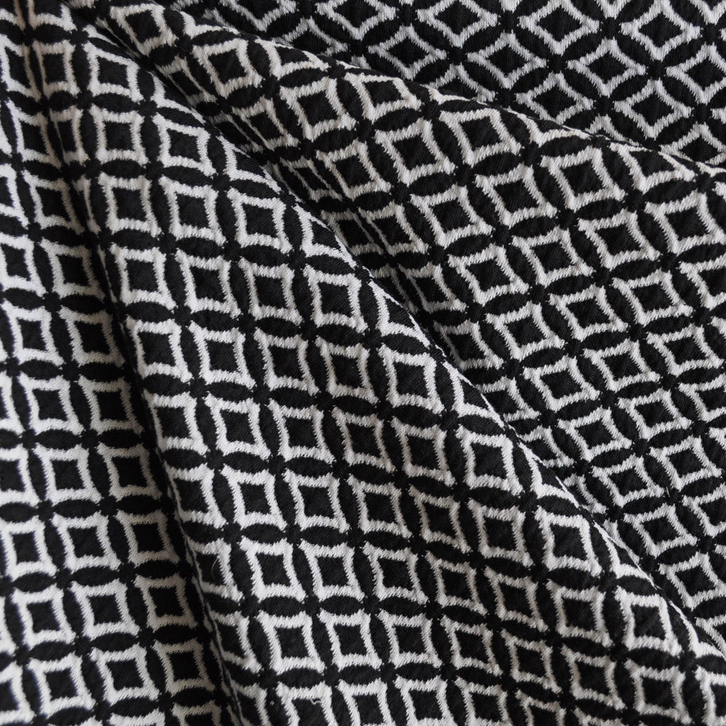 Diamond Jacquard Double Knit Black/White - Fabric - Style Maker Fabrics