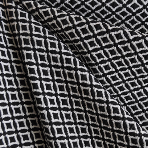Diamond Jacquard Double Knit Black/White
