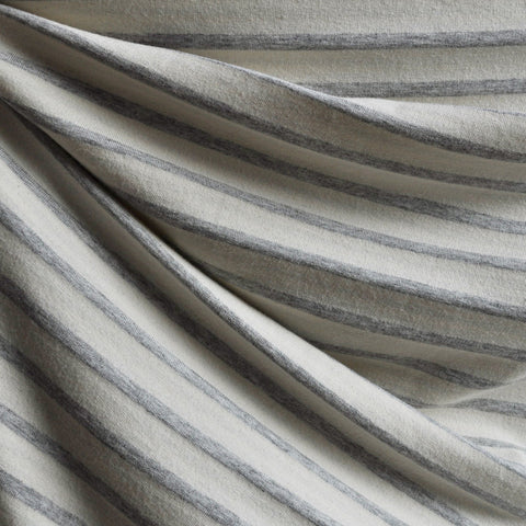 French Terry Heathered Stripe Grey/Vanilla