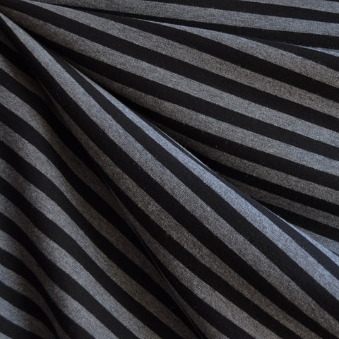 Ponte Knit Stripe Black/Charcoal