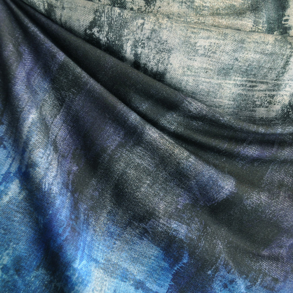 French Terry Distressed Print Blues - Sold Out - Style Maker Fabrics
