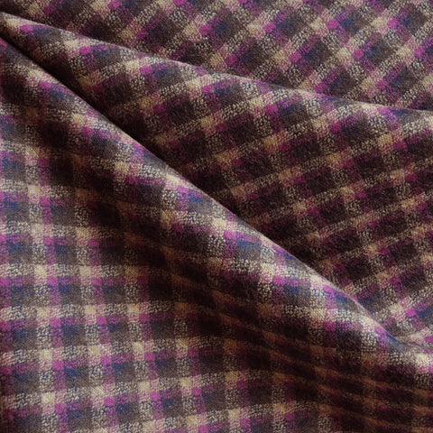 Argyle Stretch Wool Double Knit Plum/Brown