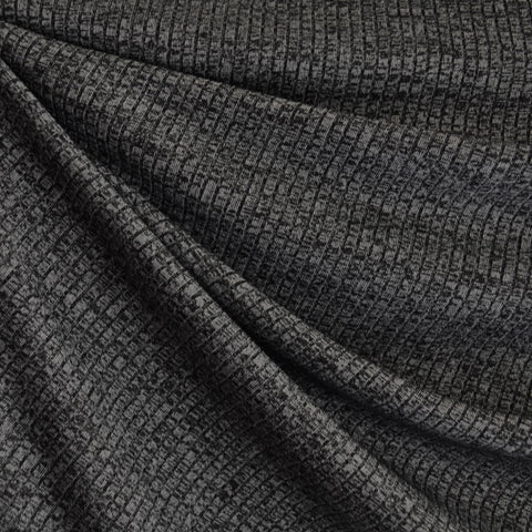 Tweed Texture Rib Sweater Knit Charcoal