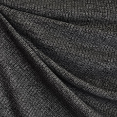 Tweed Texture Rib Sweater Knit Charcoal - Fabric - Style Maker Fabrics