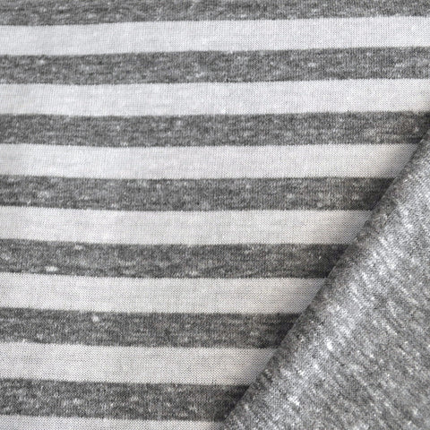 Double Face Jersey Knit Stripe Charcoal/White