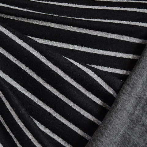Double Face Jersey Knit Metallic Stripe Black/Grey SY