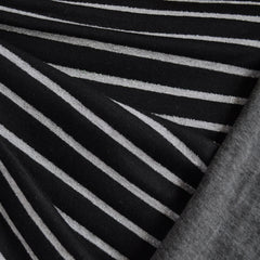 Double Face Jersey Knit Metallic Stripe Black/Grey - Fabric - Style Maker Fabrics