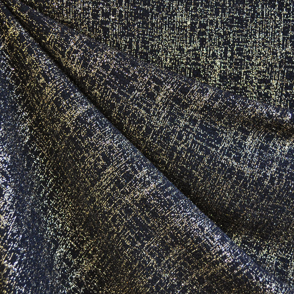Metallic Crosshatch Crepe Black/Gold - Sold Out - Style Maker Fabrics