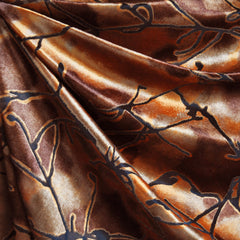 Vine Burnout Stretch Velvet Rust - Fabric - Style Maker Fabrics