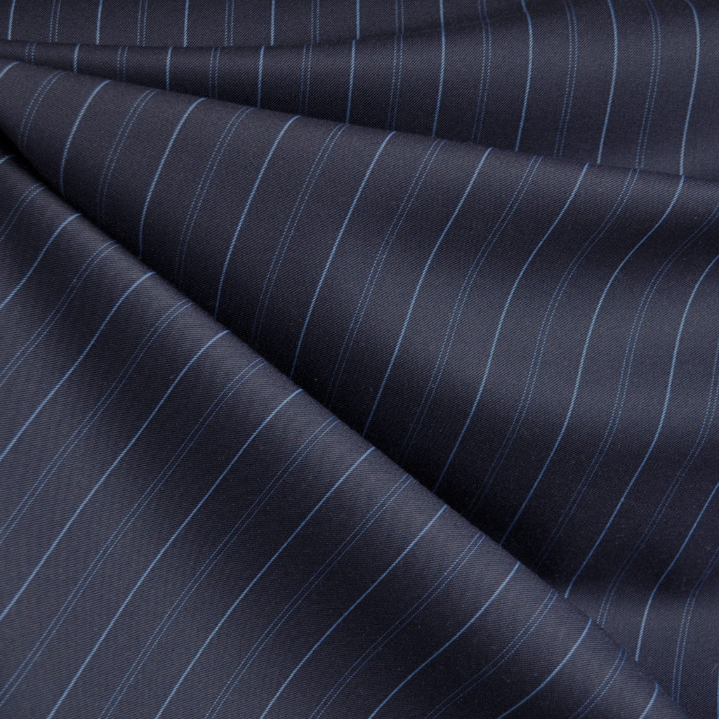 Pin Stripe Suiting Navy/Blue - Fabric - Style Maker Fabrics