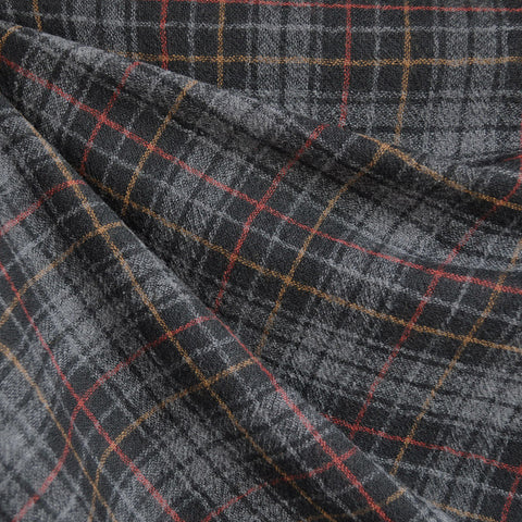 Wool Blend Gauze Plaid Grey