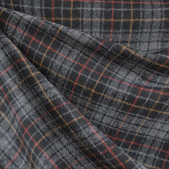 Wool Blend Gauze Plaid Grey - Fabric - Style Maker Fabrics