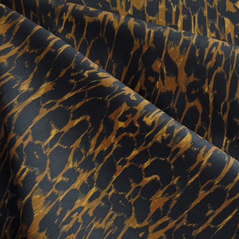Brushed Stretch Sateen Animal Print Gold SY
