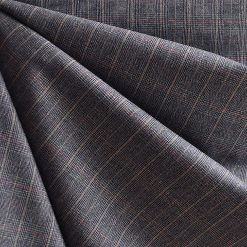 Wool Blend Glen Plaid Suiting Navy/Grey SY