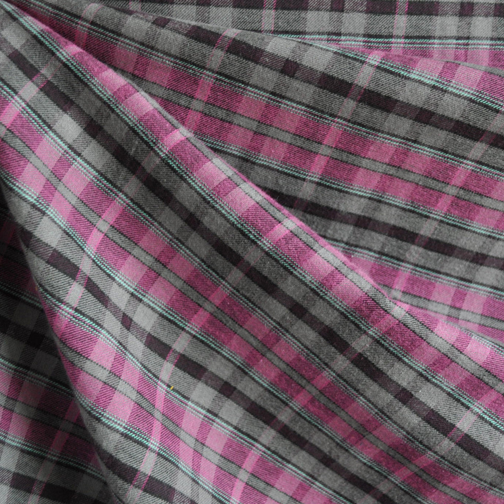Fine Cotton Plaid Shirting Plum/Grey - Fabric - Style Maker Fabrics