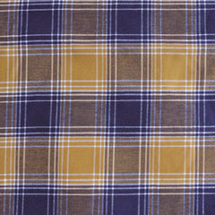 Cotton Plaid Shirting Mustard/Navy - Sold Out - Style Maker Fabrics