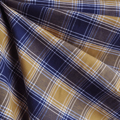 Cotton Plaid Shirting Mustard/Navy - Fabric - Style Maker Fabrics