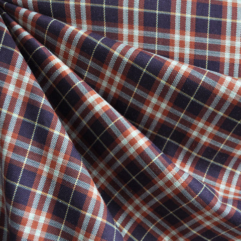 Rayon Blend Plaid Shirting Rust/Plum