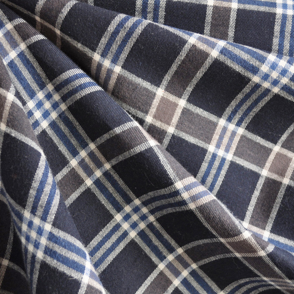Plaid Italian Flannel Shirting Navy SY - Sold Out - Style Maker Fabrics