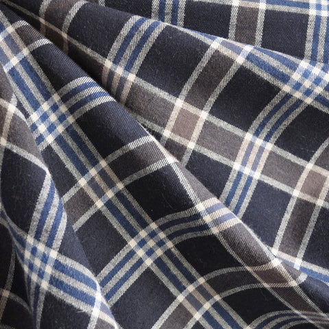 Plaid Italian Flannel Shirting Navy SY