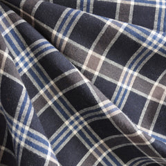 Plaid Italian Flannel Shirting Navy - Fabric - Style Maker Fabrics