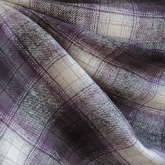 Deluxe Cotton Flannel Plaid Charcoal/Plum - Fabric - Style Maker Fabrics