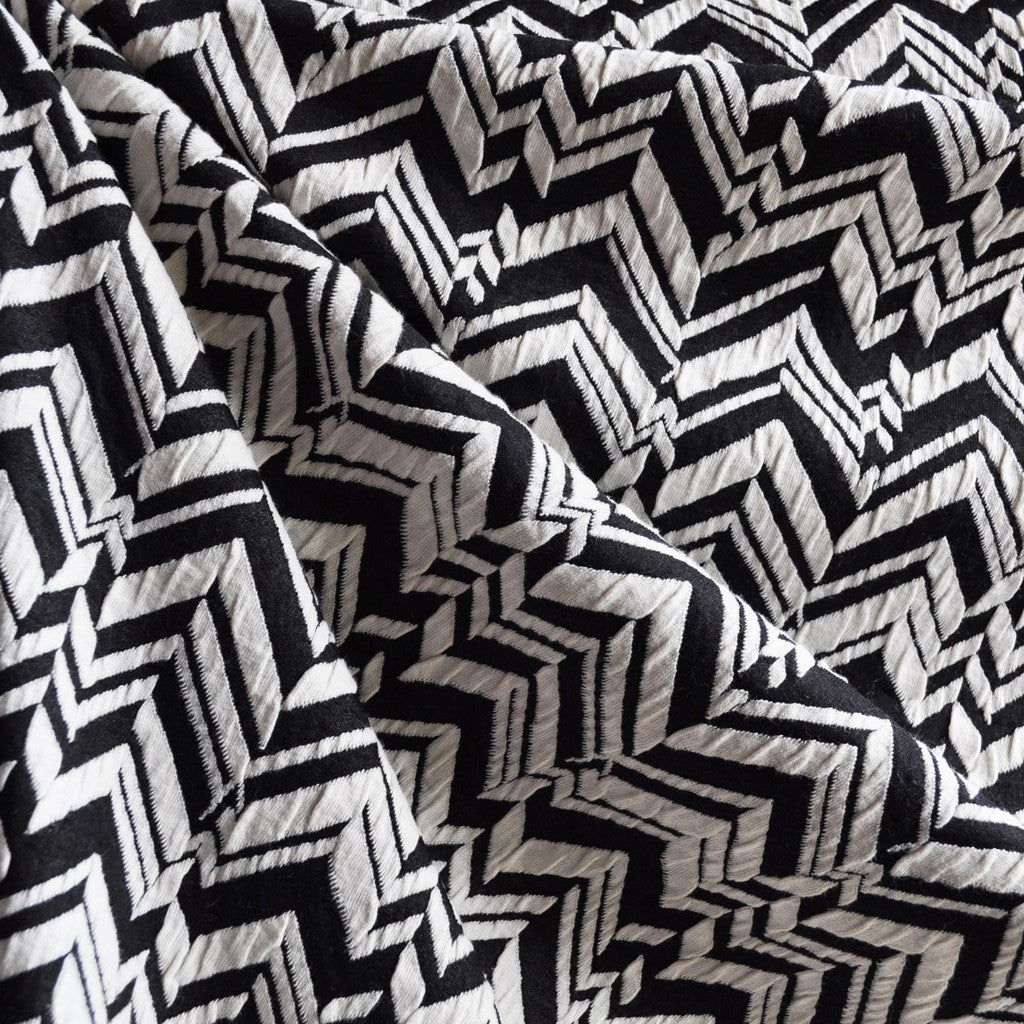 Herringbone Geometric Double Knit Black/White - Fabric - Style Maker Fabrics