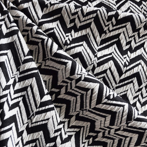 Herringbone Geometric Double Knit Black/White