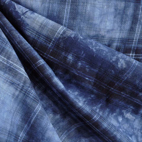 Cotton Lawn Tie Dye Plaid Indigo
