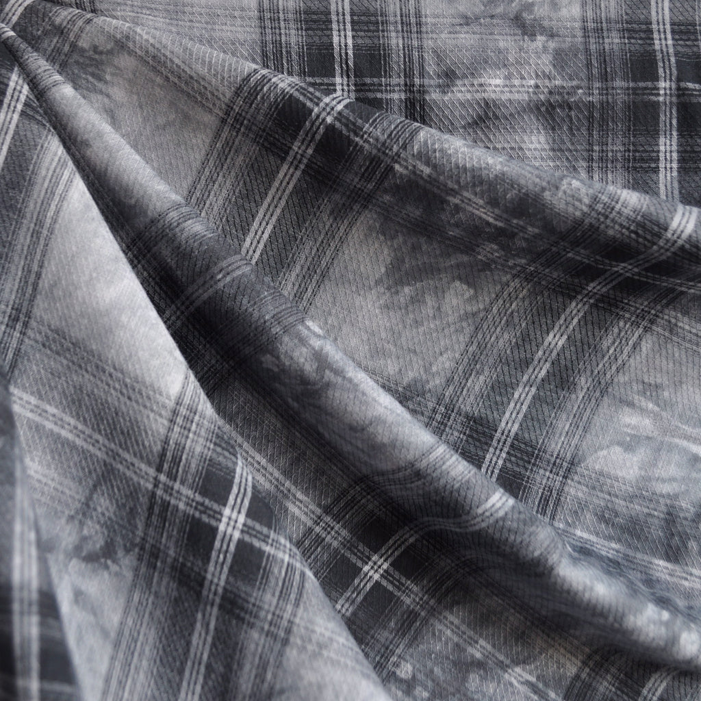 Cotton Lawn Tie Dye Plaid Charcoal SY - Sold Out - Style Maker Fabrics