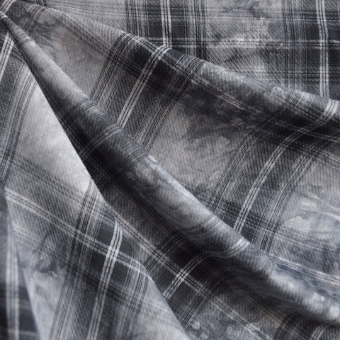 Cotton Lawn Tie Dye Plaid Charcoal