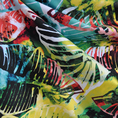 Performance Athletic Knit Tropical Leaves Multi - Fabric - Style Maker Fabrics