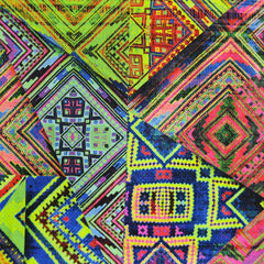 Performance Athletic Knit Tribal Patchwork Neon SY - Sold Out - Style Maker Fabrics