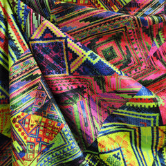 Performance Athletic Knit Tribal Patchwork Neon SY - Selvage Yard - Style Maker Fabrics