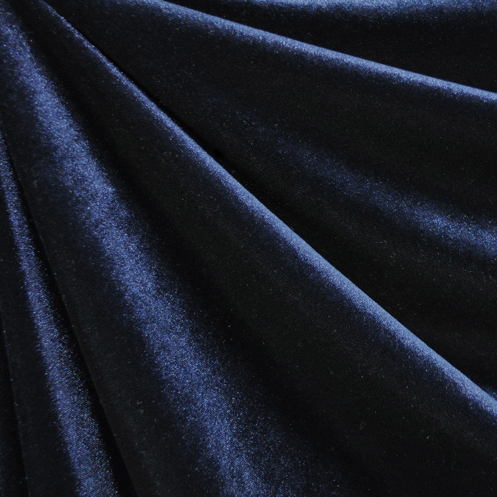Stretch Velvet Solid Navy - Fabric - Style Maker Fabrics